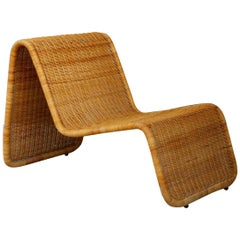 "Tito Agnoli for Bonaccina ""P3"" Lounge Chair Midcentury in Rattan, 1960s"