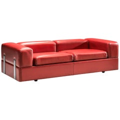 Tito Agnoli for Cinova Daybed Sofa Model 711 in Red Leatherette