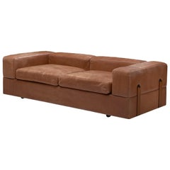 Tito Agnoli for Cinova Sofa Bed in Cognac Leather and Steel
