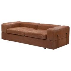 Tito Agnoli for Cinova Sofa Bed in Cognac Leather and Steel