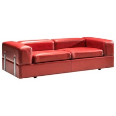 Tito Agnoli for Cinova Sofa Bed in Red Leatherette and Steel