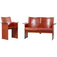 Tito Agnoli for Matteo Grassi Loveseat and Chair in Dark Cognac Leather, Italy
