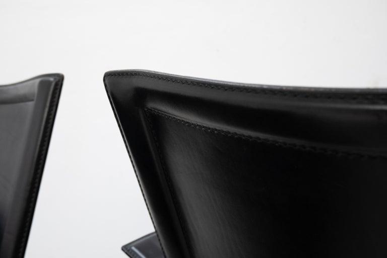 Leather Tito Agnoli for Matteo Grassi Chairs For Sale