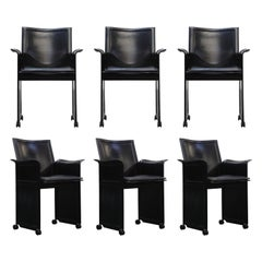 "Tito Agnoli for Matteo Grassi ""Korium"" Black Leather Armchairs, Signed"