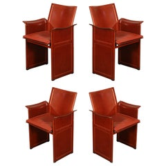"Tito Agnoli for Matteo Grassi ""Korium"" Burgundy Leather Armchairs, Set of Four"