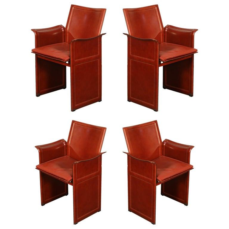 "Tito Agnoli for Matteo Grassi ""Korium"" Burgundy Leather Armchairs, Set of Four For Sale"