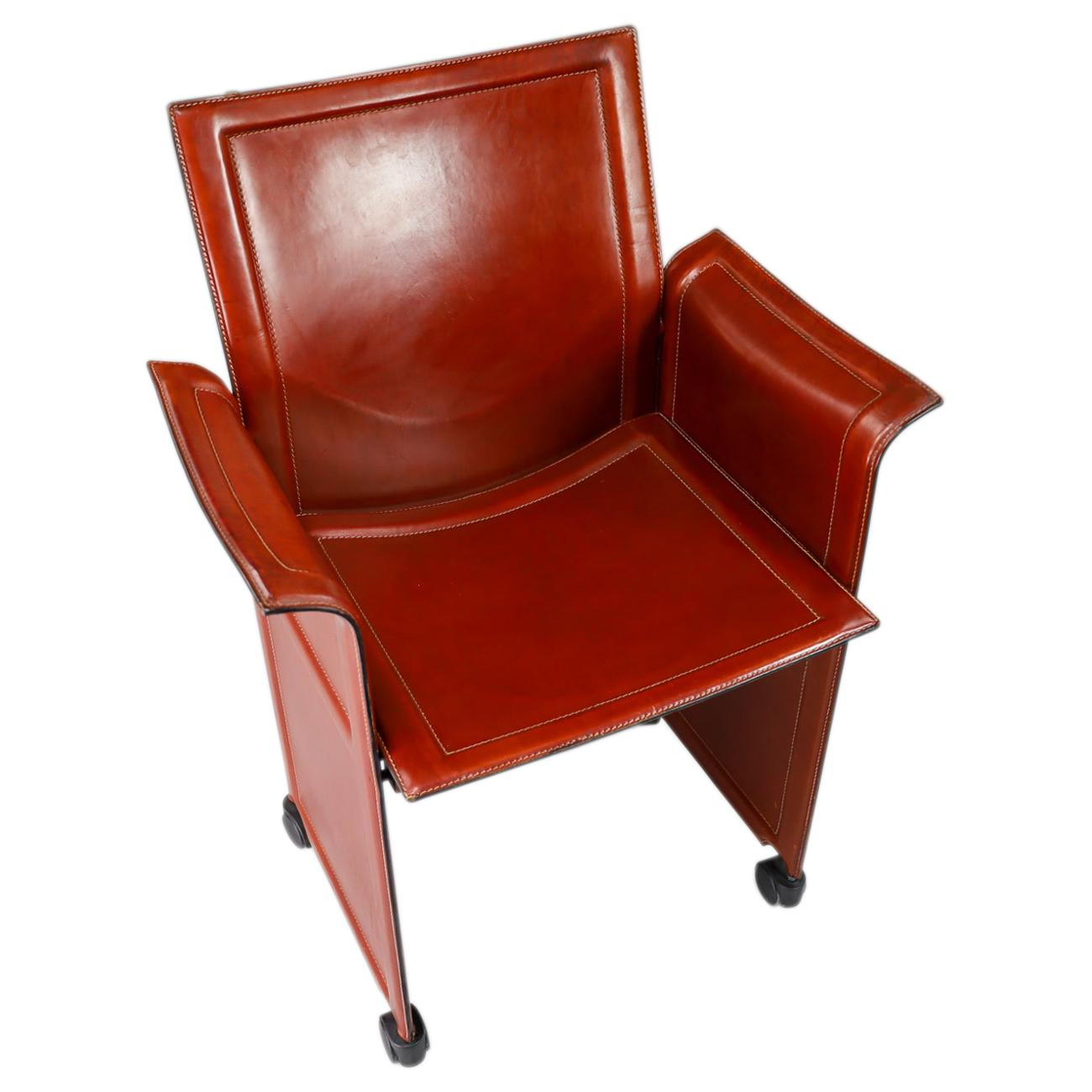 """Tito Agnoli for Matteo Grassi """"Korium"""" Cognac Leather Armchairs, 1970s"""