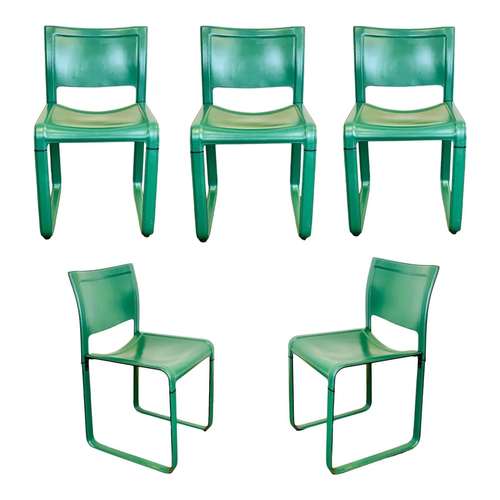 Tito Agnoli for Matteo Grassi Sistena Green Leather Dining Chairs, Set of 5