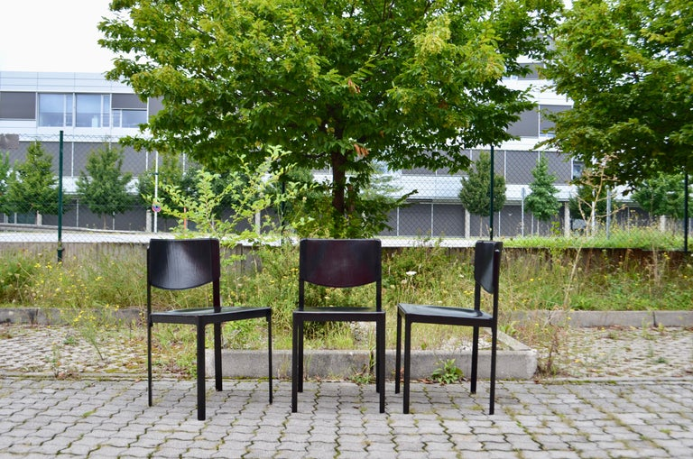 Modern Tito Agnoli for Matteo Grassi Vintage Leather Dining Chair Set of 3