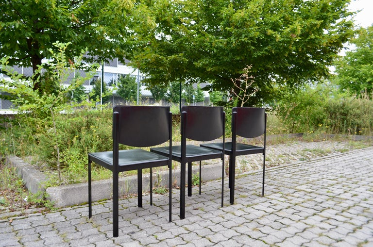 Italian Tito Agnoli for Matteo Grassi Vintage Leather Dining Chair Set of 3