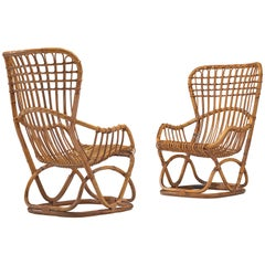 Tito Agnoli Inspired Pair of Rattan Lounge Chairs