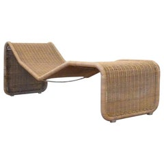 Tito Agnoli Italian Mid-Century Modern Rattan Chaise Lounge, 1957