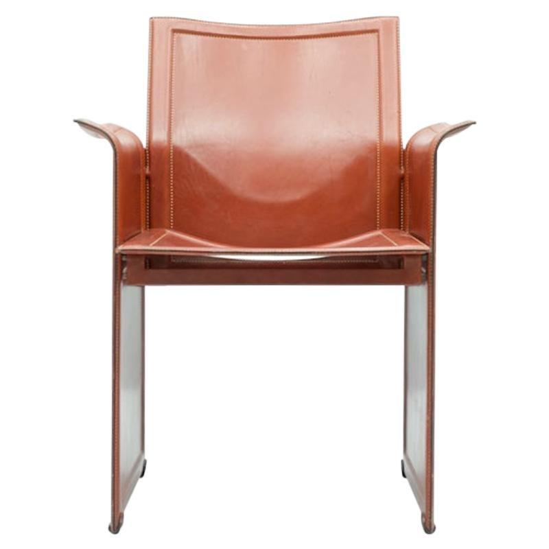 Tito Agnoli Korium Leather Chair by Matteo Grassi, Italy, 1970s