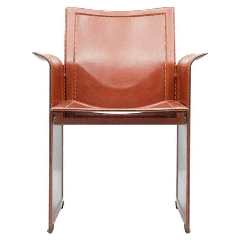 Tito Agnoli Korium Leather Chair by Matteo Grassi, Italy, 1970s For Sale