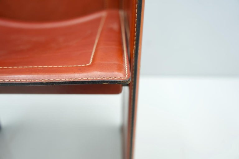 Tito Agnoli Korium Leather Chair by Matteo Grassi, Italy, 1970s For Sale 5