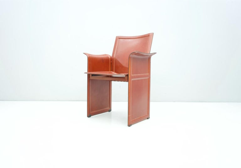 Mid-Century Modern Tito Agnoli Korium Leather Chair by Matteo Grassi, Italy, 1970s For Sale