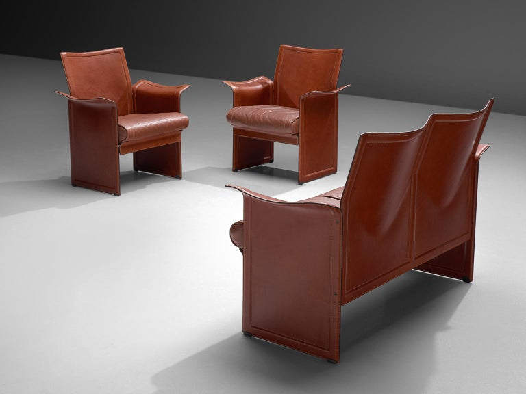Mid-Century Modern Tito Agnoli 'Korium' Living Room Set in Cognac Leather For Sale
