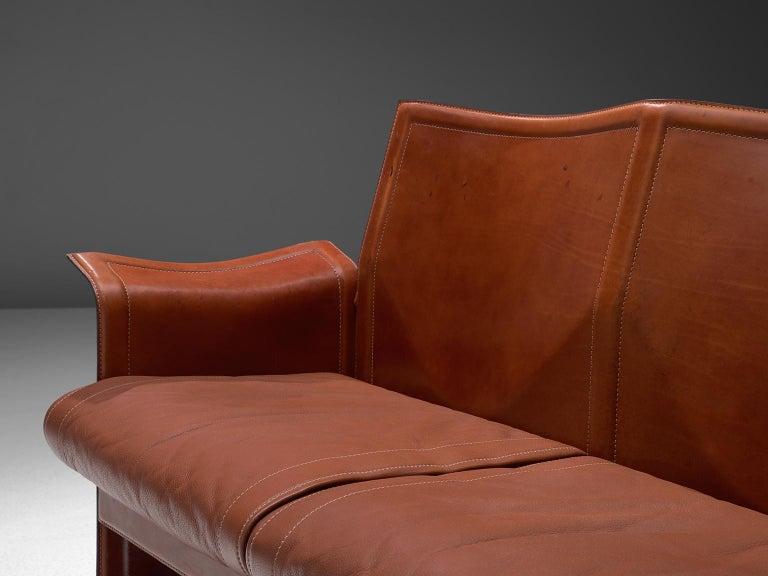 Italian Tito Agnoli 'Korium' Living Room Set in Cognac Leather For Sale