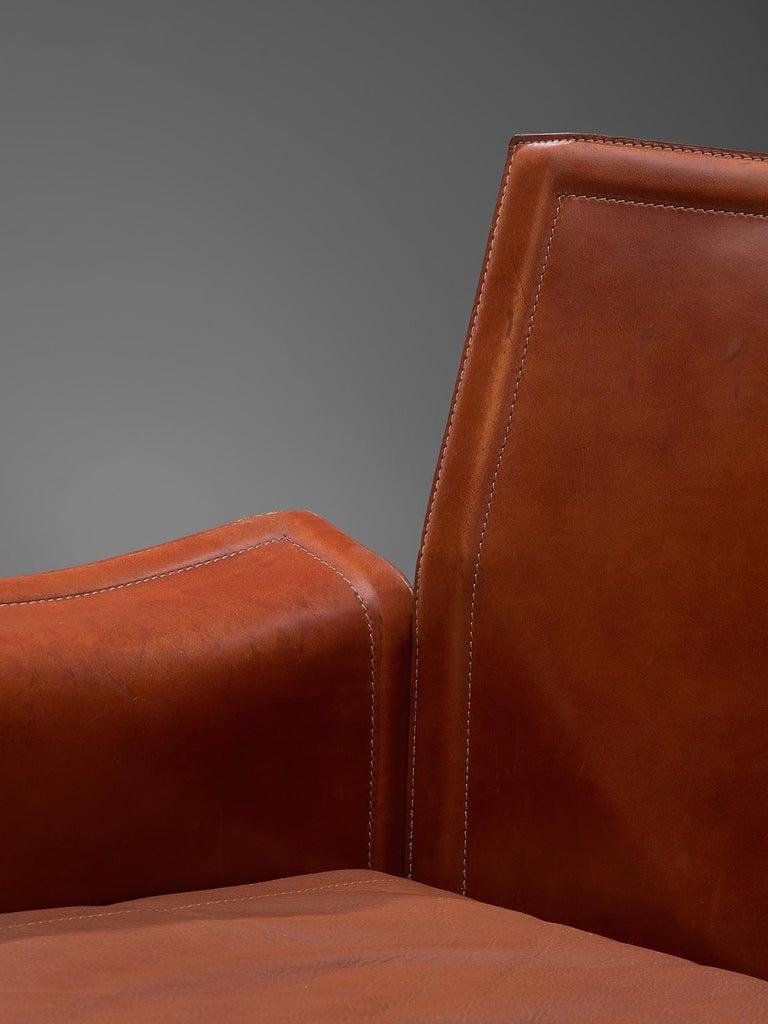 Late 20th Century Tito Agnoli 'Korium' Living Room Set in Cognac Leather For Sale