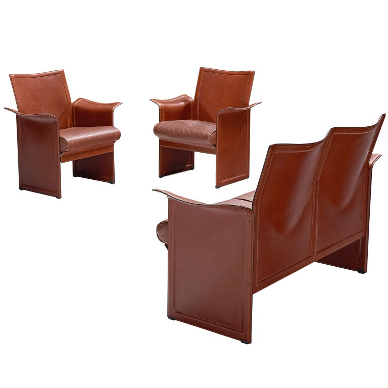 Tito Agnoli 'Korium' Living Room Set in Cognac Leather For Sale