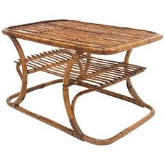 Tito Agnoli Mid-Century Modern Italian Bamboo Coffee Table for Bonacina, 1950s