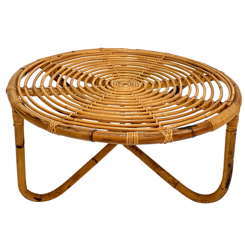 "Tito Agnoli Midcentury Round Rattan ""BT2"" Coffee Table for Bonacina, Italy 1960s"