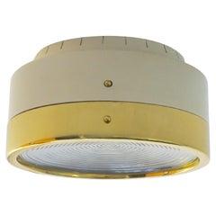 Tito Agnoli & Oluce Flush Mount Light, Aluminum, Brass & Glass Lens, Italy 1959