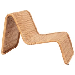 "Tito Agnoli ""P3"" Wicker Rattan Midcentury Lounge Chair for Bonacina, Italy, 1962"