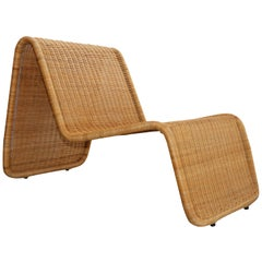 Tito Agnoli P4 Rattan Easy or Lounge Indoor or Outdoor Chaise Longue Chair