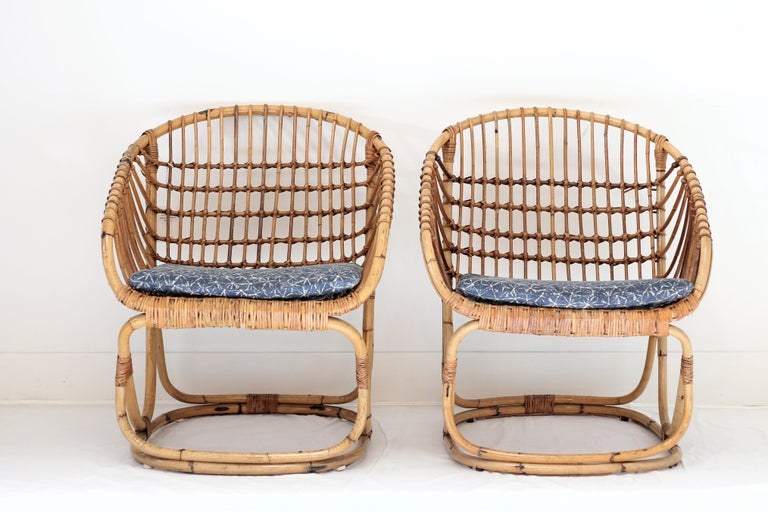 Tito Agnoli Rattan Armchairs, Pair In Good Condition For Sale In West Hollywood, CA