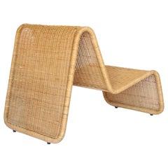 Tito Agnoli Rattan P3 Easy Chair Pierantonio Bonacina, 1960s
