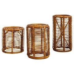 Tito Agnoli Style Bamboo Stools