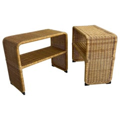 Tito Agnoli Style Rattan Nightstands, Coffee and Side Tables, 1970s, Sweden