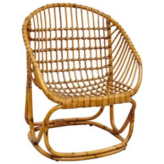 Tito Agnoli Wicker Rattan Chair by Bonacina, circa 1960