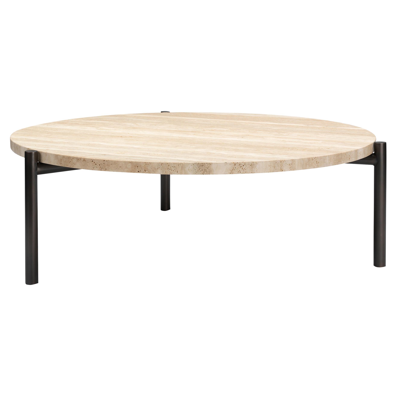 Tivoli Coffee Table Round 3 Legs Brass or Bronze Plated + Travertine Top