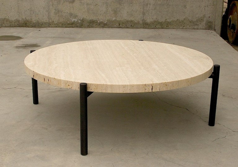 Modern Tivoli Coffee Table Round or Square 4 Legs Brass or Bronze Plated Travertine Top For Sale