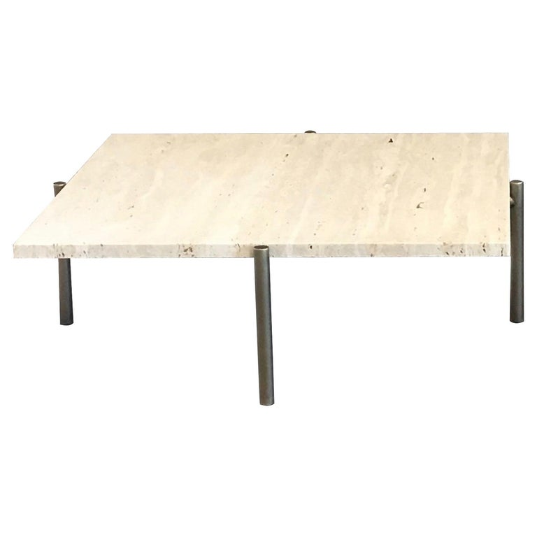 Tivoli Coffee Table Round or Square 4 Legs Brass or Bronze Plated Travertine Top For Sale