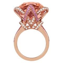 Tivon 18 Carat Rose Gold Morganite, Pink Sapphire and Diamond Ring