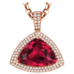 Tivon 18 Carat Rose Gold Trilliant Cut Pink Tourmaline and White Diamond Pendant