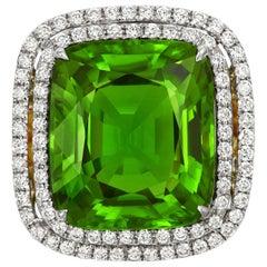 Tivon 18 Carat Two-Tone Gold Fine Peridot and Diamond Cocktail Ring