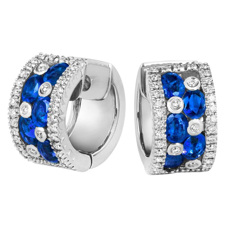 c0ec7c089da Tivon 18 Carat White Gold Round Diamond and Oval Blue Sapphire Hoop Earrings  For Sale at 1stdibs