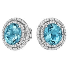 Tivon 18 Carat White Gold Santa Maria Aquamarine and Diamond Earrings