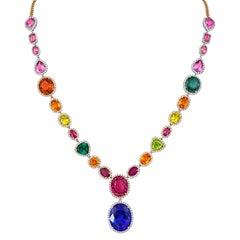 Tivon 18 Carat White, Yellow & Rose Gold Multi-colour gemstone & Diamond Collier
