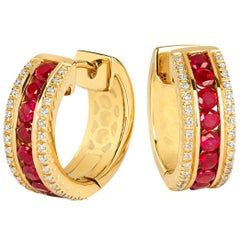 Tivon 18 Carat Yellow Gold Round Diamond and Round Ruby small hoop earrings