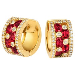 Tivon 18 Carat Yellow Gold Round White Diamond &Oval Burmese Ruby hoop Earrings