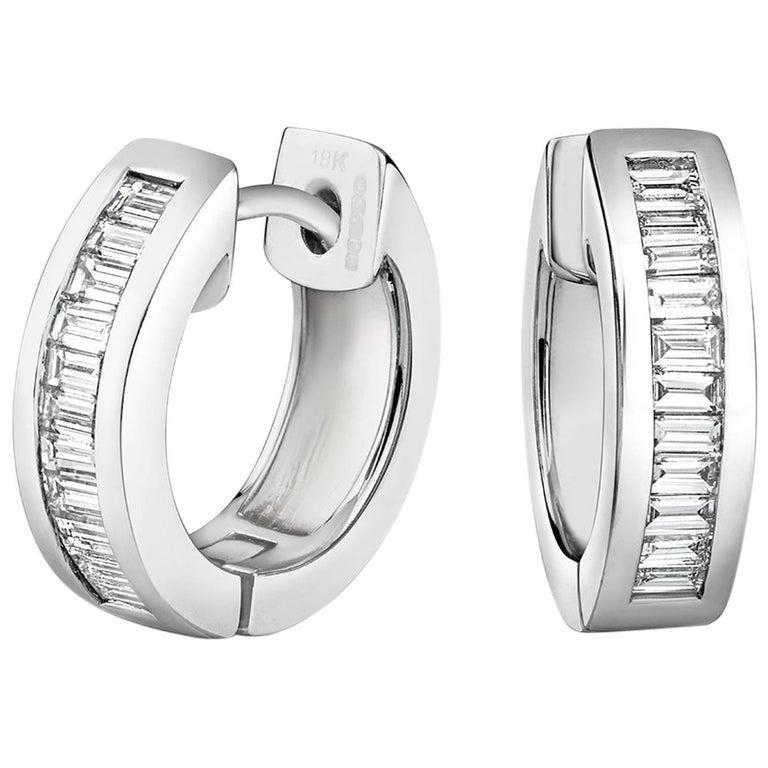 Tivon 18ct White Gold Channel Set Baguette Cut Diamond Hoop Earrings For