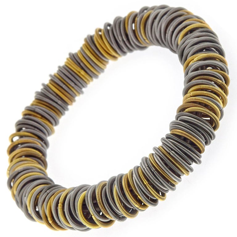 Tiziana Bra N1 Stainless Steel and Gold-Plated Cuff Bracelet In New Condition For Sale In Torino, IT