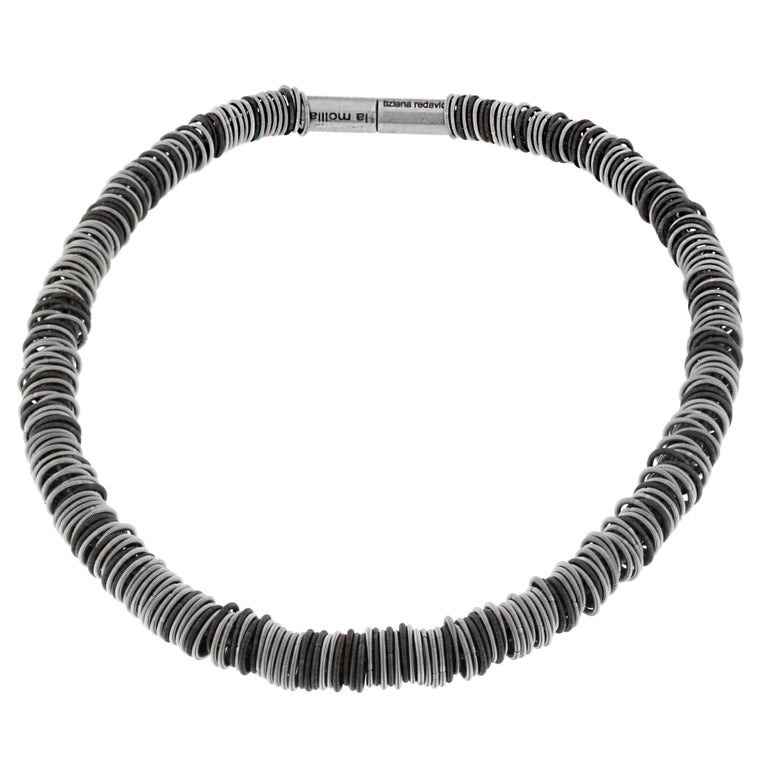 Women's or Men's Tiziana N1 Stainless Steel Spring Choker Necklace For Sale