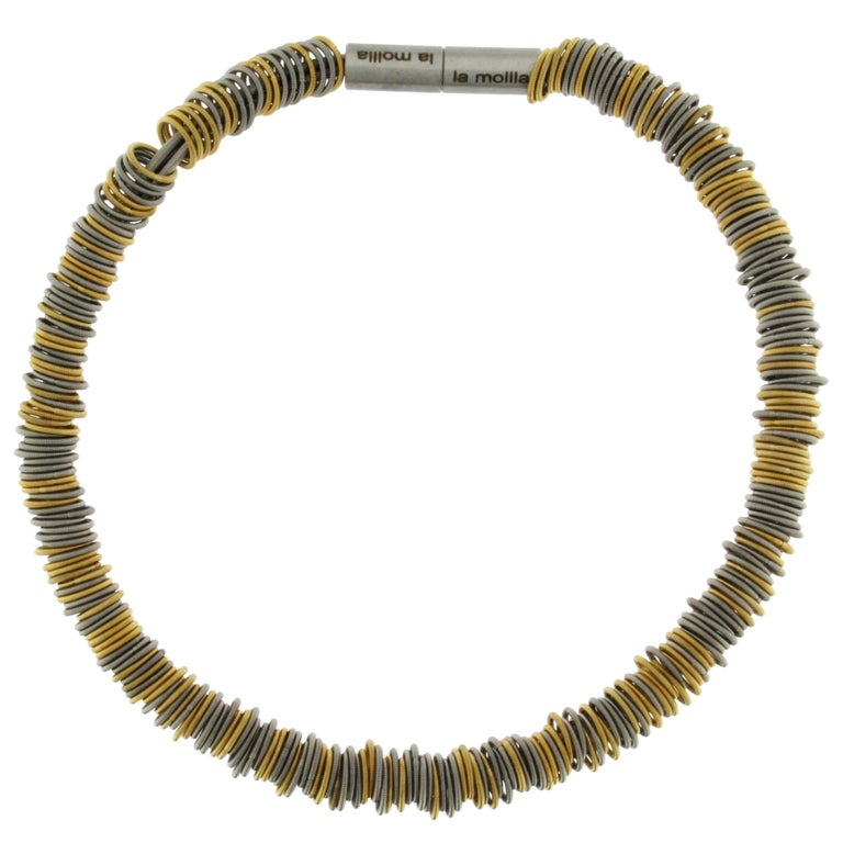 Tiziana N1 Stainless Steel Spring Gold-Plated Choker Necklace For Sale