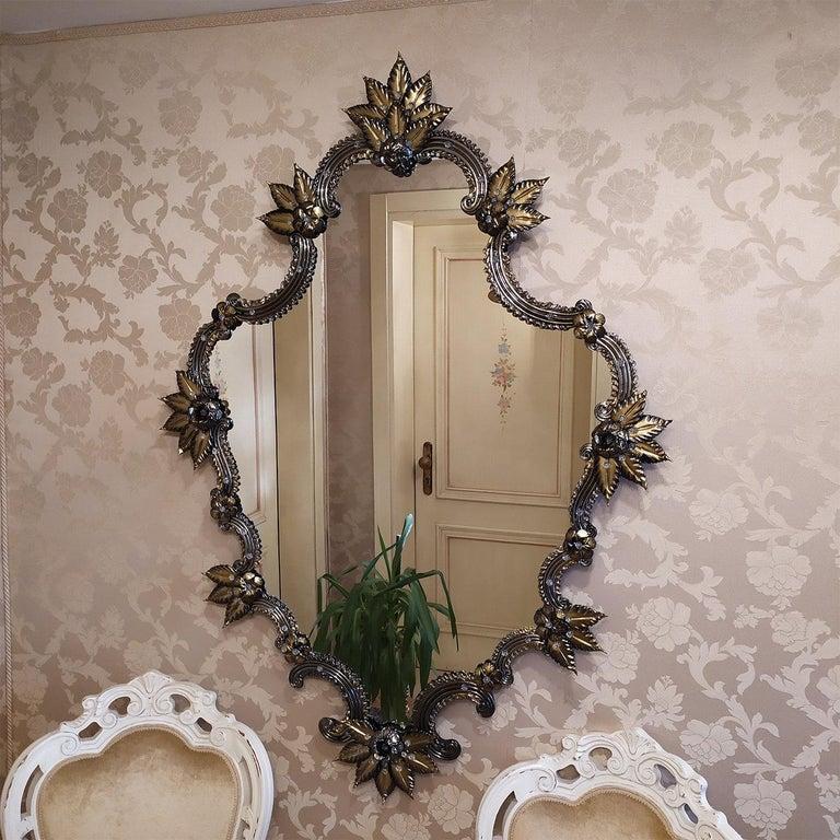 Modern Tiziano Murano Glass Mirror For Sale